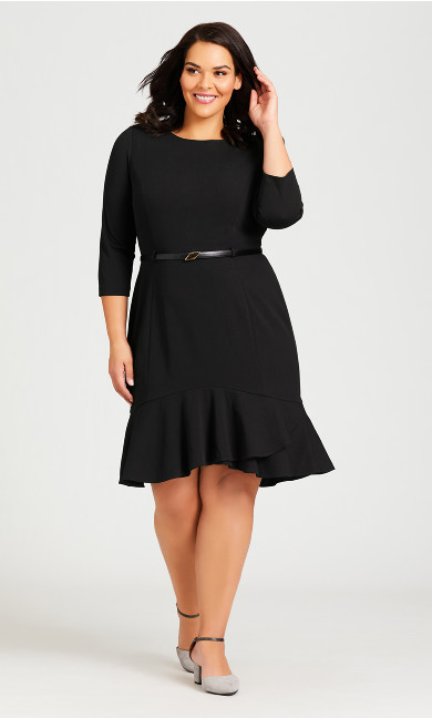 Plus Size Alexa Belted Dress - black