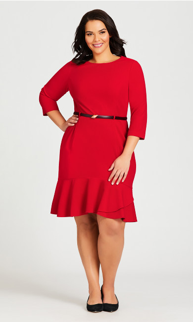 Plus Size Alexa Belted Dress - red