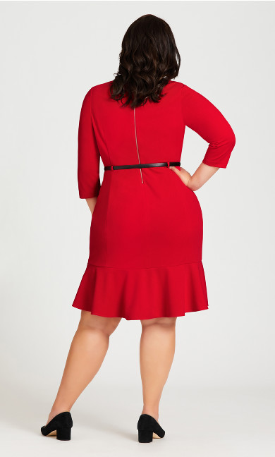 Alexa Belted Dress - red
