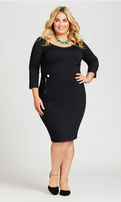 Plus Size Taylor Button Dress - black