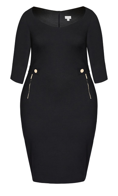 Taylor Button Dress - black