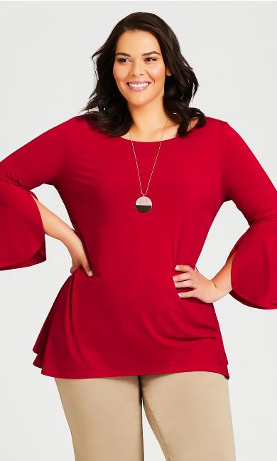 Plus Size Emily Plain Top - red