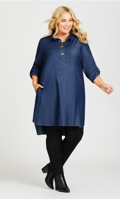 Plus Size Shirt Dress - dark wash