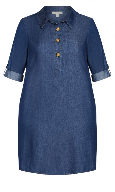 Shirt Dress - dark wash