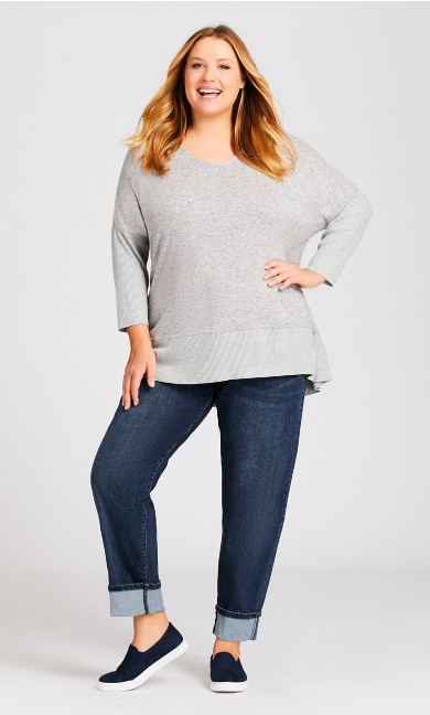 Plus Size Tina Turn Up Jean Mid Wash - average
