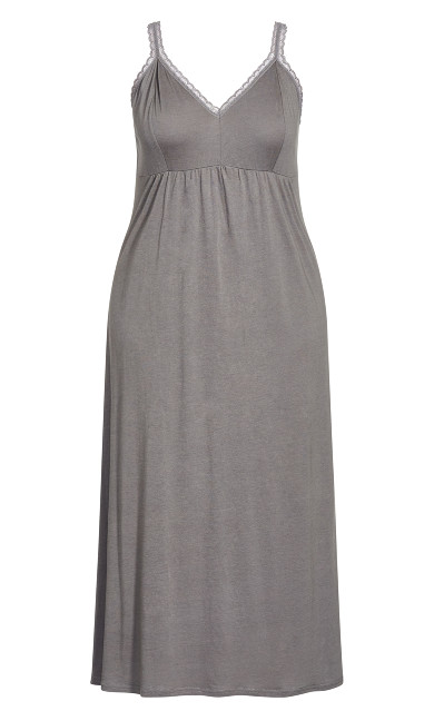 Lace Plain Maxi Sleep Dress - gray