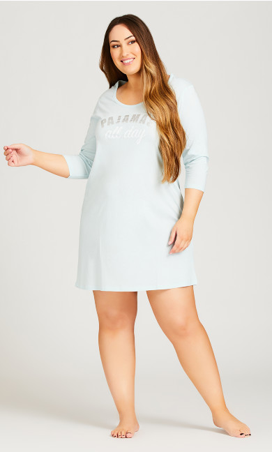 Plus Size PJ's Sleep Shirt - pale blue