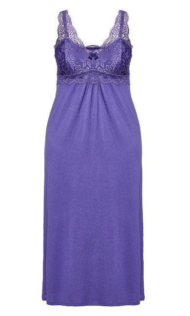 Lace Nightie Maxi Dress - lilac