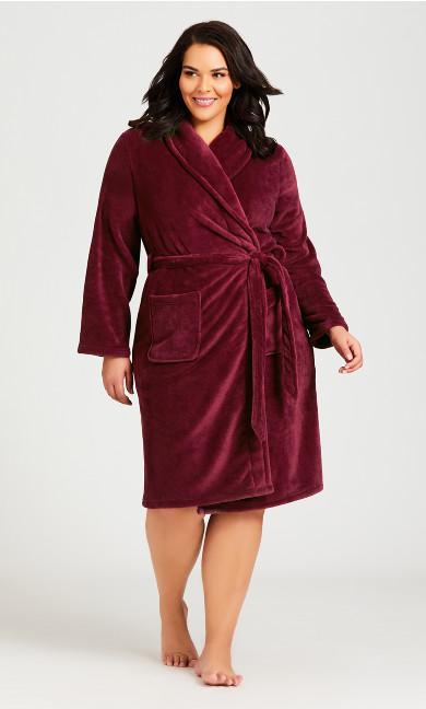 Plus Size Plain Robe - plum