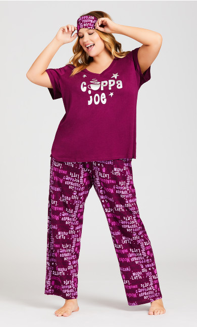 Plus Size Cuppa Sleep Set - plum