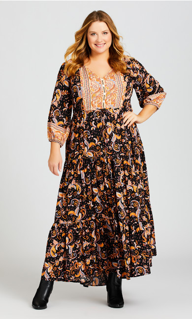 Plus Size Elodie Border Maxi Dress - black paisley