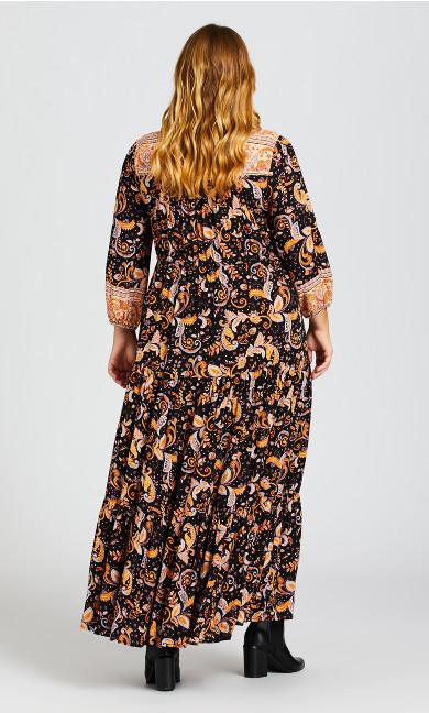 Elodie Border Maxi Dress - black paisley
