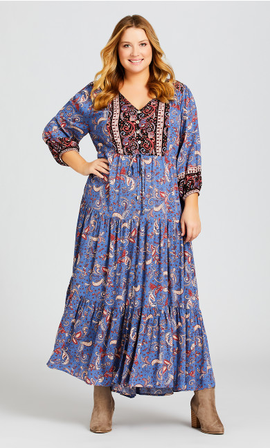 Plus Size Elodie Border Maxi Dress - blue paisley