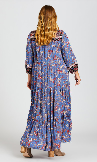 Elodie Border Maxi Dress - blue paisley