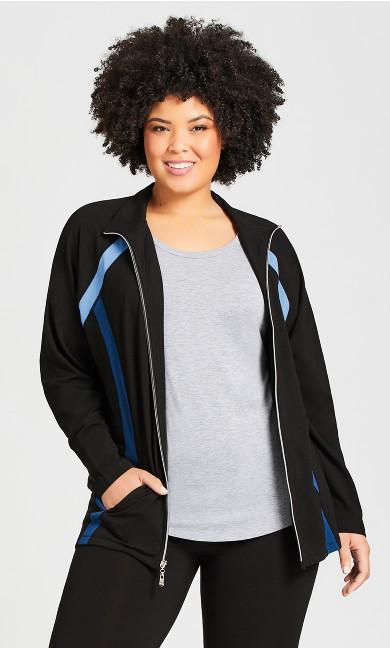 Plus Size Color Block Jacket - black