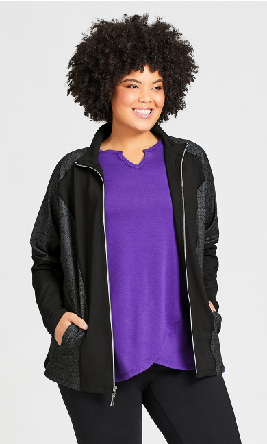 Plus Size Mock Neck Jacket - black