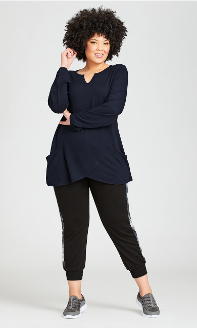 Plus Size Jogger Tie Pant Black - average