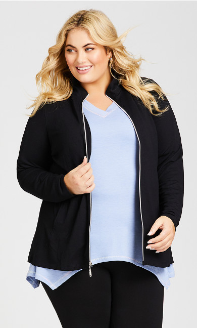 Plus Size Zip Plain Jacket - black
