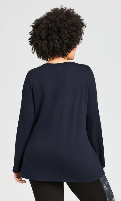 Split Neck Plain Tunic - navy