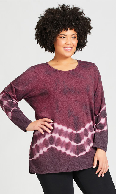 Plus Size Tie Dye Top - purple