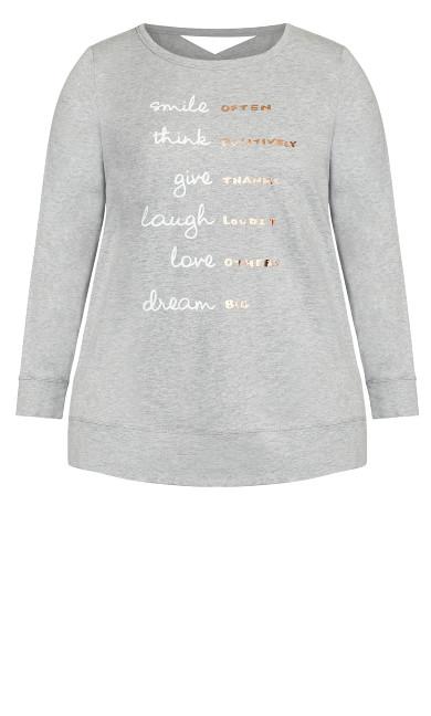 Smile Slogan Top - gray