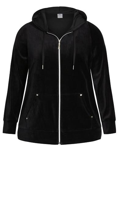 Velour Zip Hoodie Sweatshirt - black