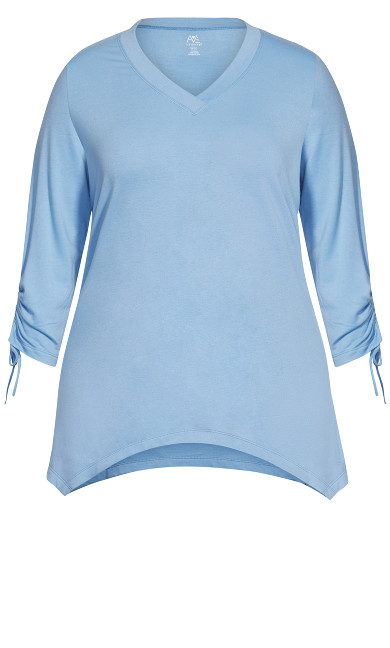 Ruched Sleeve  Sharkbite  Top - blue