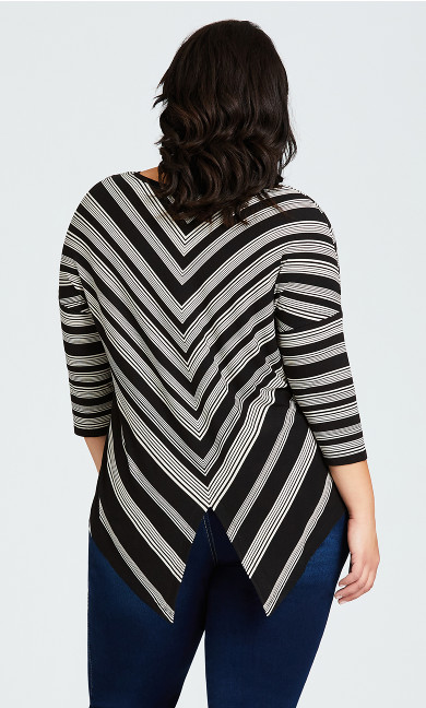 Jamie Stripe Top - black