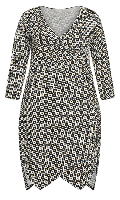Sofia Wrap Dress - black tile