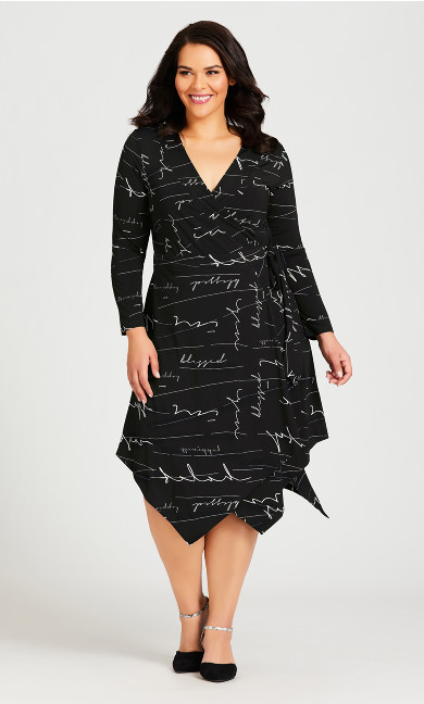 Plus Size Sofia Print Wrap Dress - black