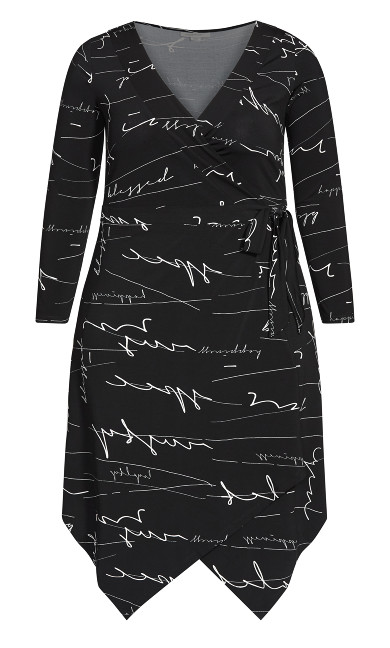 Sofia Print Wrap Dress - black