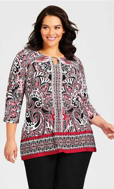Plus Size Ada Keyhole Top - red paisley
