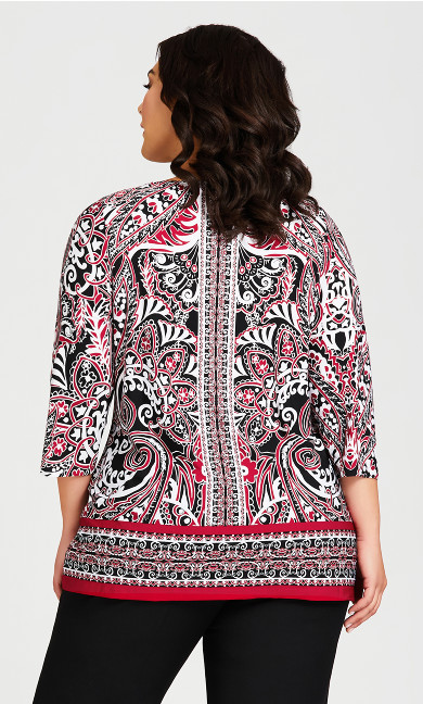 Ada Keyhole Top - red paisley