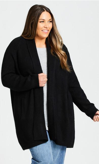 Plus Size Cuddle Longline Cardigan - black