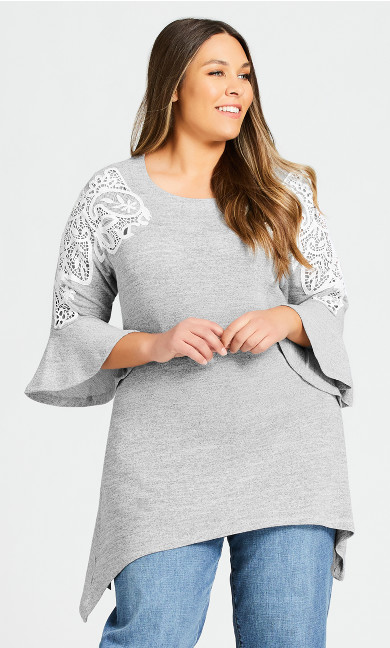 Plus Size Liana Lace Detail Tunic - gray