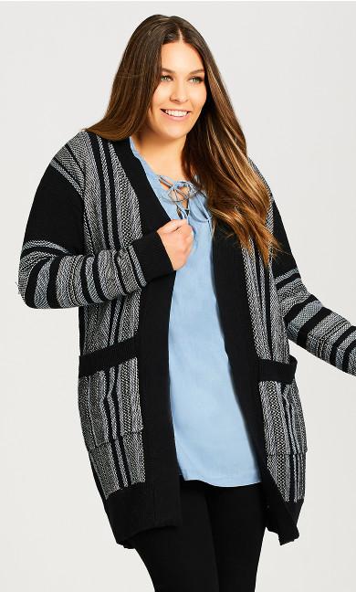 Plus Size Frankie Stripe Cardi - black