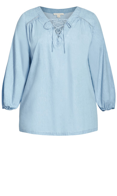 Jolie Lace Up Top - chambray