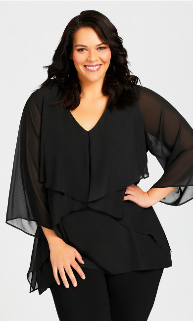 Plus Size Amy Tiered Top - black