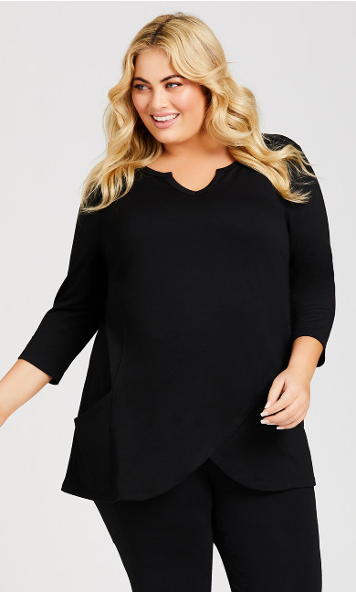 Plus Size Taj Color Wrap Tunic - black