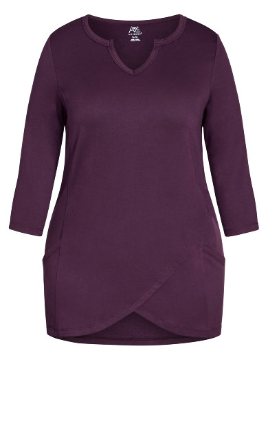 Taj Color Wrap Tunic - plum