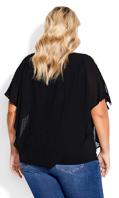 Shelly Overlay Top - black