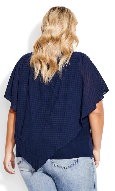 Shelly Overlay Top - navy