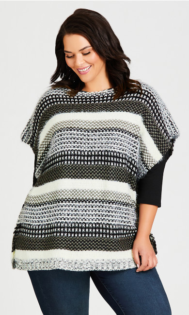 Plus Size Callie Jacquard Poncho - black white