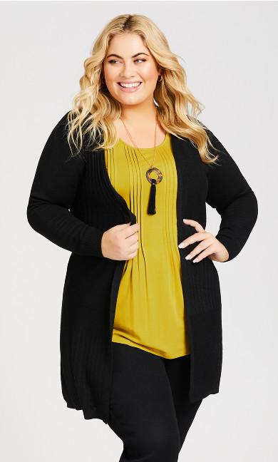 Plus Size Lillian Longline Cardi - black
