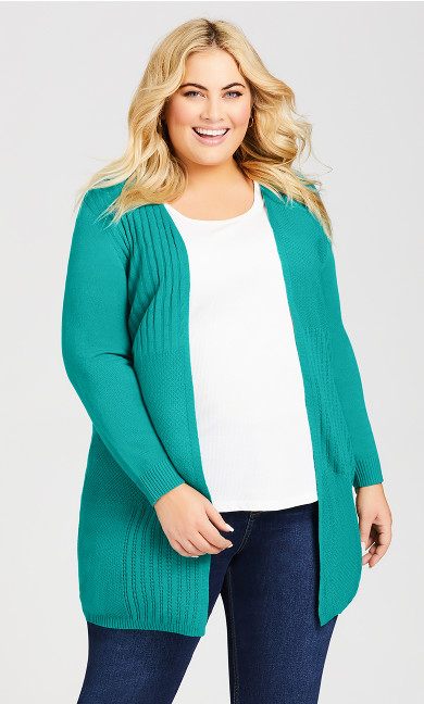 Plus Size Lillian Longline Cardi - teal