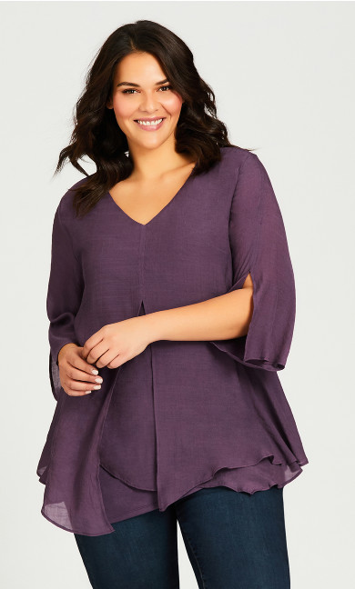 Plus Size Mila Split Front Top - eggplant