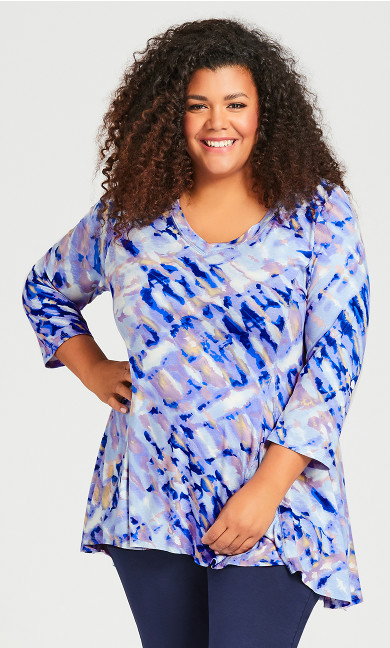 Plus Size V Neck Swing Print Top - watercolor