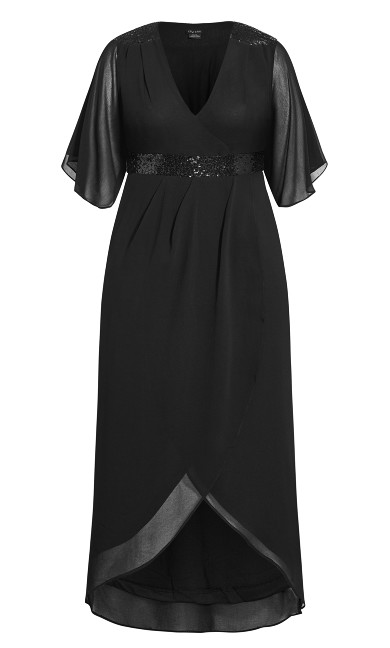 Sequin Wrap Maxi Dress - black