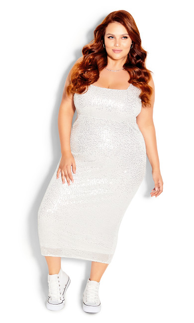 Plus Size Sexy Sequin Dress - silver