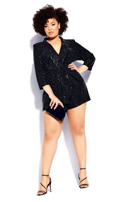 Plus Size Glamour Playsuit - black